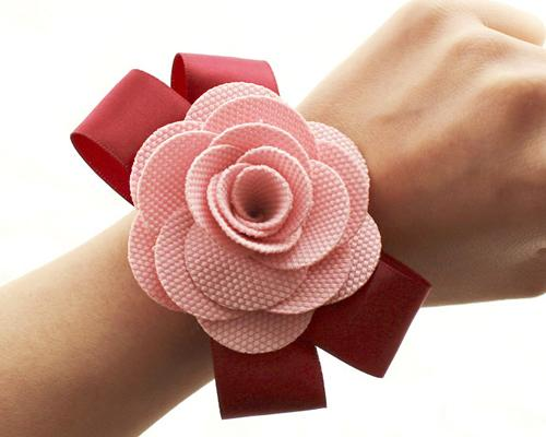 6 Pcs Flower Wedding Wrist Corsages - Pink