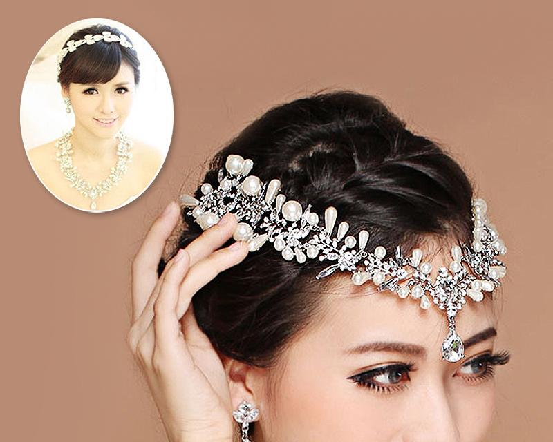 Shining Stylish Wedding Crown and Earring Jewelry set