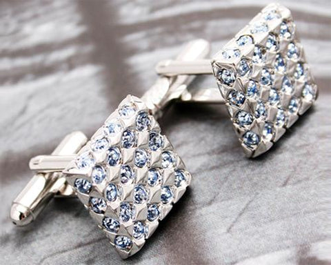 Sparkle Square Bling Swarovski Crystal Cufflinks