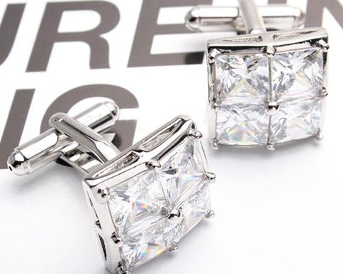 Lattice Bling Swarovski Crystal Cufflinks