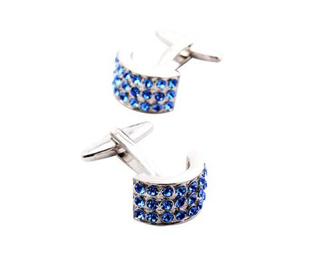 Circle Bling Swarovski Crystal Cufflinks