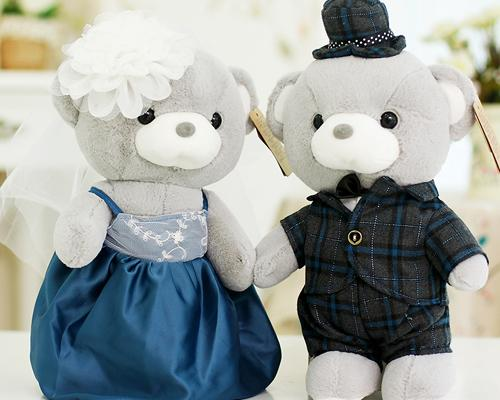 Cute Couple Teddy Bear Wedding Dolls - Classic