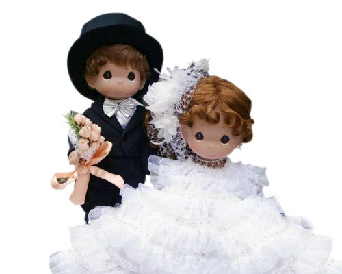 Happiness Precious Moments Bride and Groom Handmade Wedding Dolls