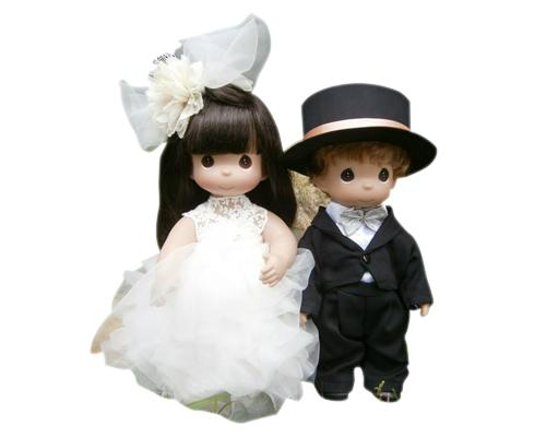 Noble Precious Moments Bride and Groom Handmade Wedding Dolls