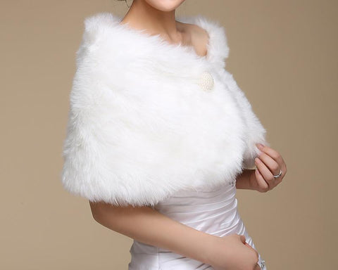 Pearl White Faux Fur Wedding Wraps