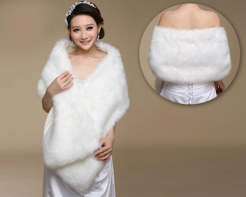 Elegant Lady Bridal Faux Fur Wedding Shawl - White