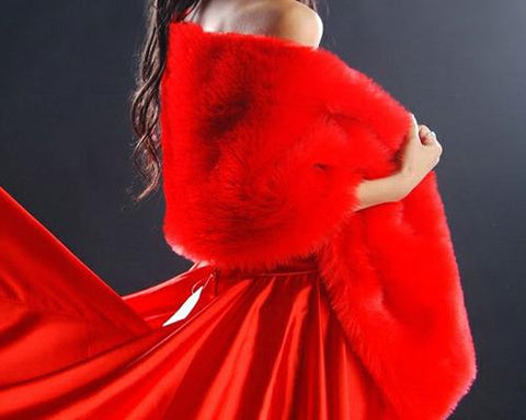 Elegant Lady Bridal Faux Fur Wedding Shawl - Red