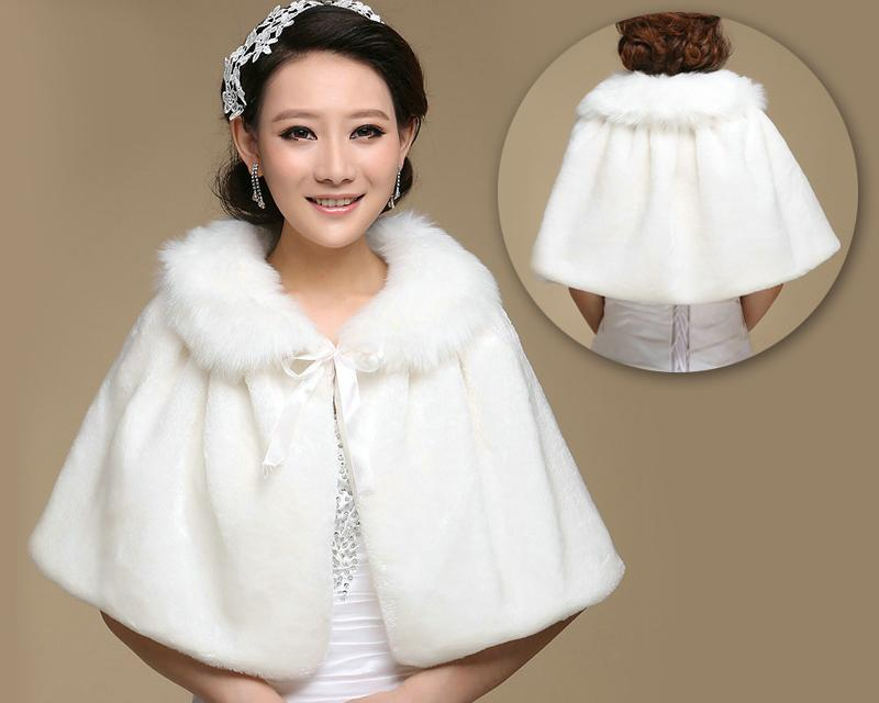 Ribbon White Bridal Faux Fur Wedding Wrap