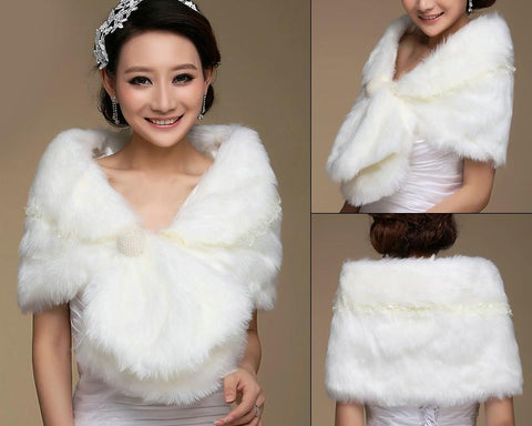 Luxury Wihte Bridal Faux Fur Wedding Shawls Wraps