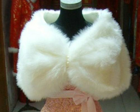 Chic White Bridal Faux Fur Wedding Shawls