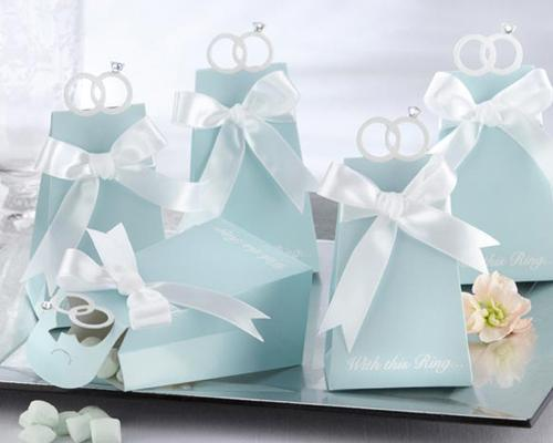 20 Pcs Tiffany Blue Ribbon Wedding Favor Boxes