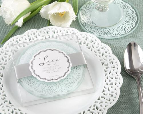 Wedding Favors Frosted Lace Glass Coasters
