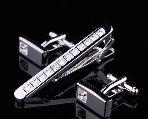 Crystal Tie Clip and Rectangle Cufflinks for Men Set - Classic White