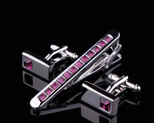 Crystal Tie Clip and Rectangle Cufflinks for Men Set - Classic Magenta