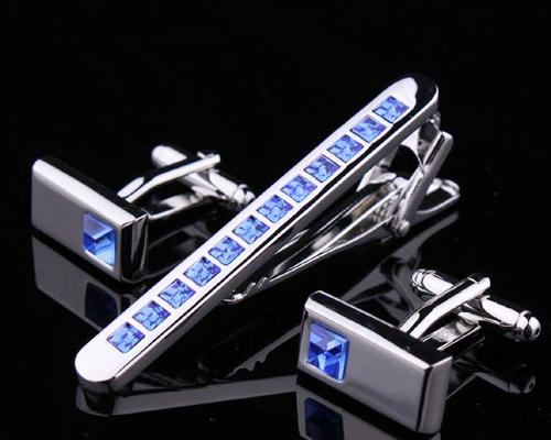 Classic Crystal Cufflinks and Tie Clip Set - Ice Blue