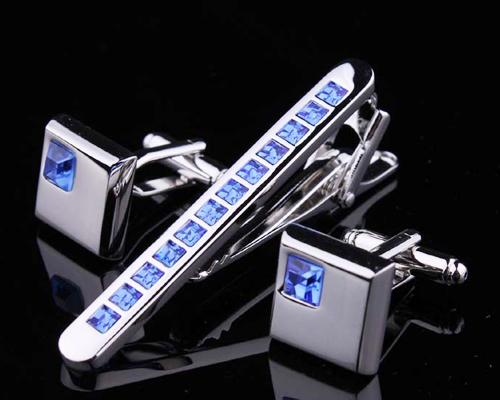 Chic Crystal Cufflinks and Tie Clip Set - Ice Blue