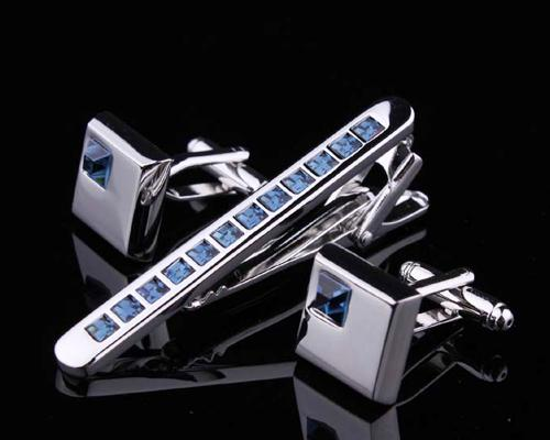 Chic Crystal Cufflinks and Tie Clip Set - Blue