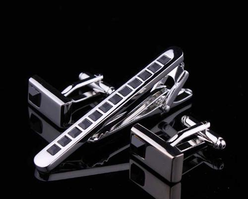 Classic Crystal Cufflinks and Tie Clip Set - Black