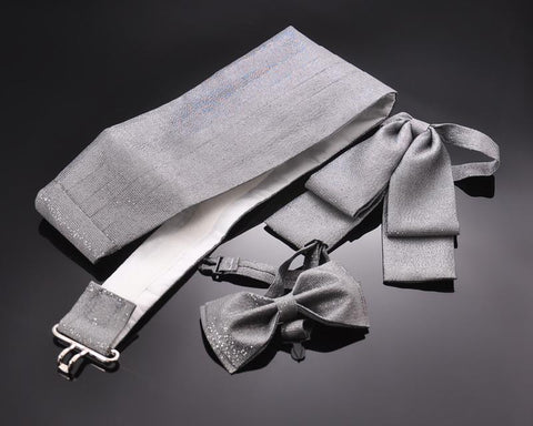 Handcrafted Solid Bow Ties and Cummerbund Set - Light Gray