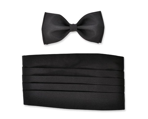 Men Wedding Satin Bow Tie and Cummerbund Set