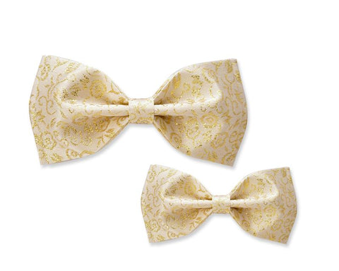 Father and Son Wedding Paisley Pattern Bow Tie Set - Gold