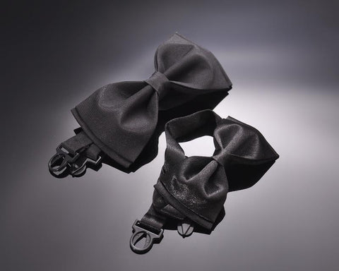 Father and Son Handcrafted Satin Bow Tie Set - Black