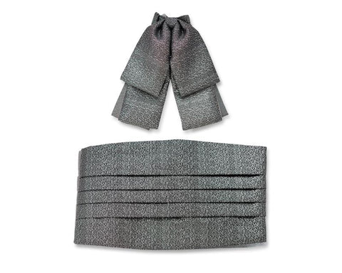Formal Butterfly Bow Tie Knot and Cummerbund Set - Dark Gray