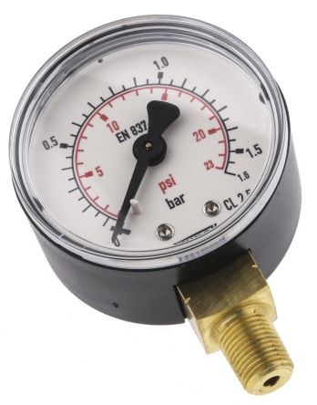 Pressure Gauge, Bottom Entry, Steel Case