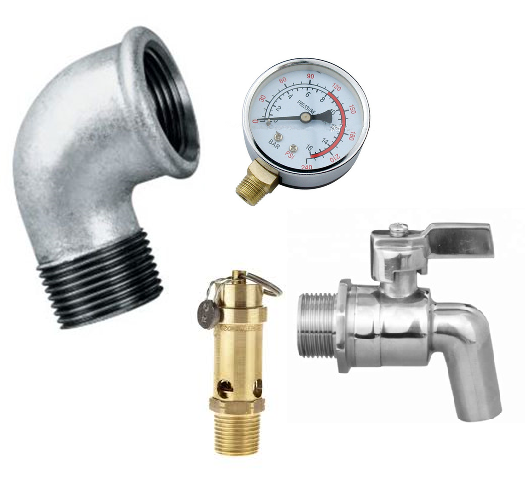 RECEIVER KITS / SAFETY VALVE, PRESSURE GAUGE, MF 90° ELBOW AND BALL VALVE DRAIN