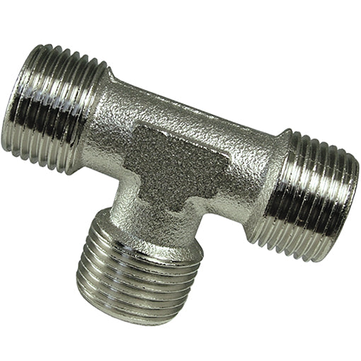 Nickel Plated Equal Tee Male Thread BSPP
