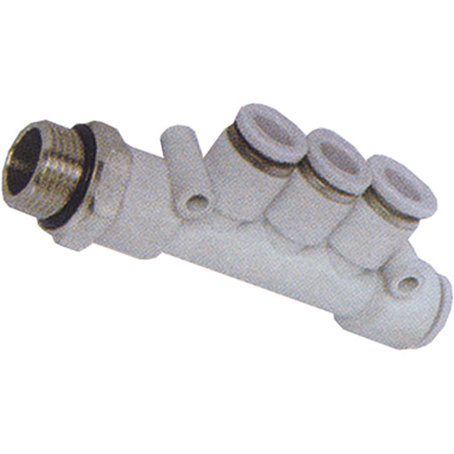 "Triple Branch Manifold Thread BSPP G1/4"" X Tube 8mm"