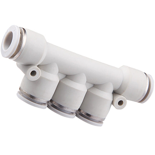 Triple Branch Reducing Manifold Tube:  Inlet 10mm X Outlet 6mm