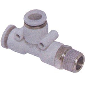Male Stud Swivel Run Tee BSPT M5 X 6mm Tube