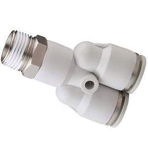 "Threaded Y Connector BSPT 3/8"" X 10mm Tube"