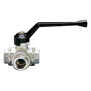 "3 Way T Port Ball Valve F. BSPP G1/4"" X 81mm"