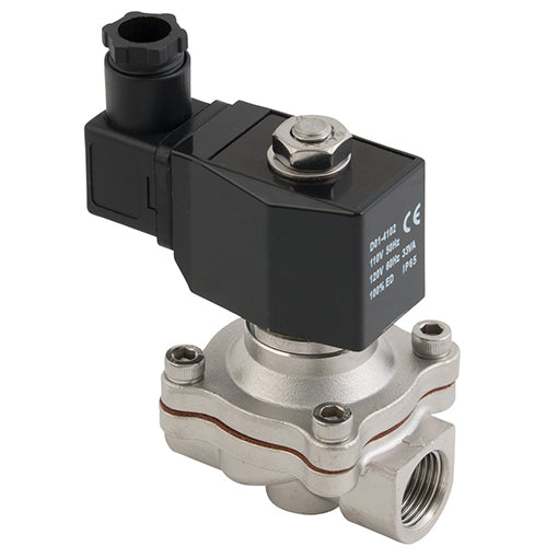 "ZS Series 2/2 Solenoid Valve, Stainless Steel Body Viton Seals G1"" 220V AC"