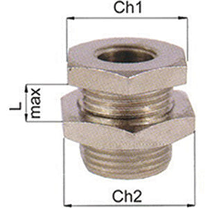 Nickel Plated Bulkhead Connector M5