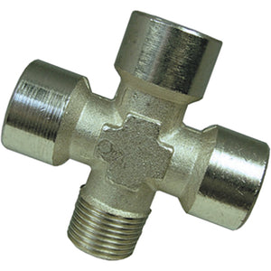 "Nickel Plated Equal Female Cross with One male Branch Thread G1/2"" CH20mm CODE: EFC12MF"