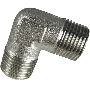 "Nickel Plated Equal Elbow Male Thread BSPP G3/8"" CODE: EMME38"