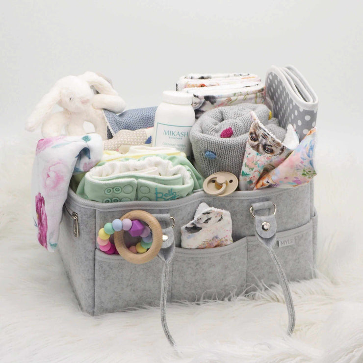 Nursery Organiser - Nappy Caddy_Grey with polka dots