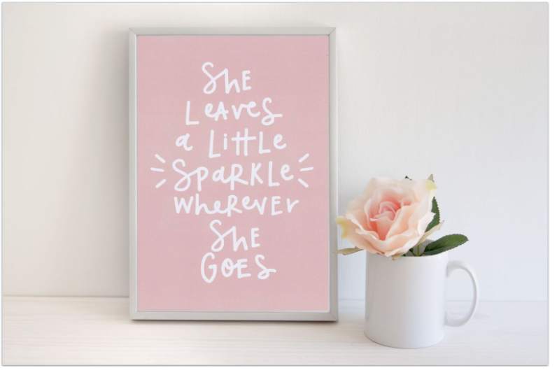 Frame Print for baby girls nursery Dubai UAE Pink