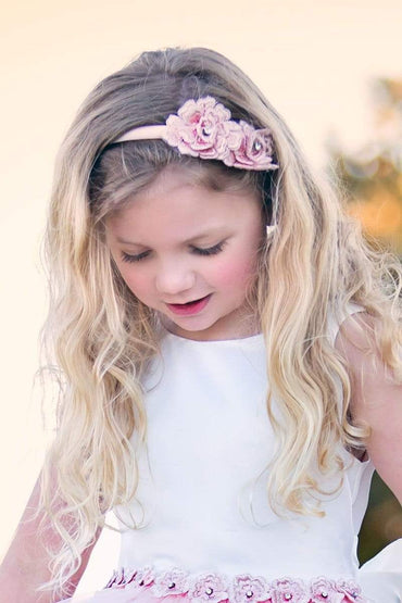 communion dresses 3D Rosette headband in blush color vendor-unknown flower girl dresses