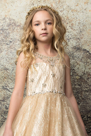 communion dresses Evelyn Dress Champagne Petite Adele flower girl dresses