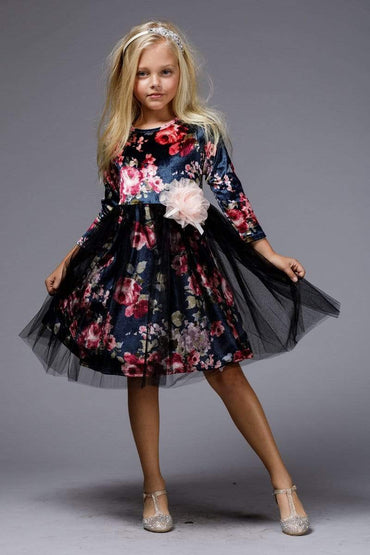 communion dresses Floral velvet dress vendor-unknown flower girl dresses
