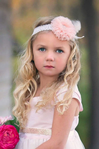 communion dresses Mesh and Feather Headband vendor-unknown flower girl dresses