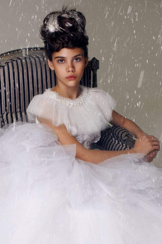 communion dresses Mesh Cape with Beads and Pearls PETITE ADELE flower girl dresses