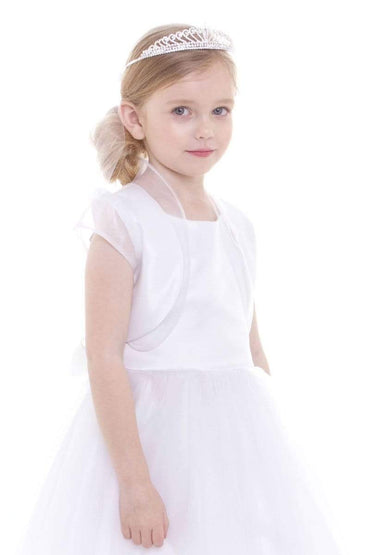 communion dresses Satin Organza Ruffles Bolero vendor-unknown flower girl dresses