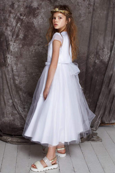 communion dresses Satin Organza Sleeves Bolero vendor-unknown flower girl dresses