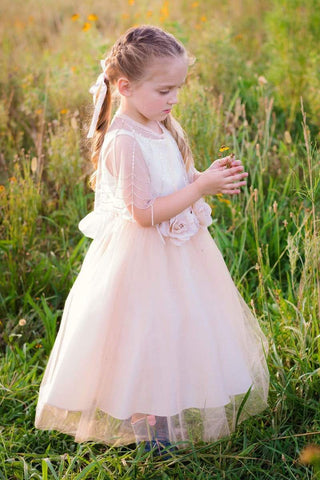 communion dresses Satin Top Dress with Tulle Skirt Petite Adele flower girl dresses
