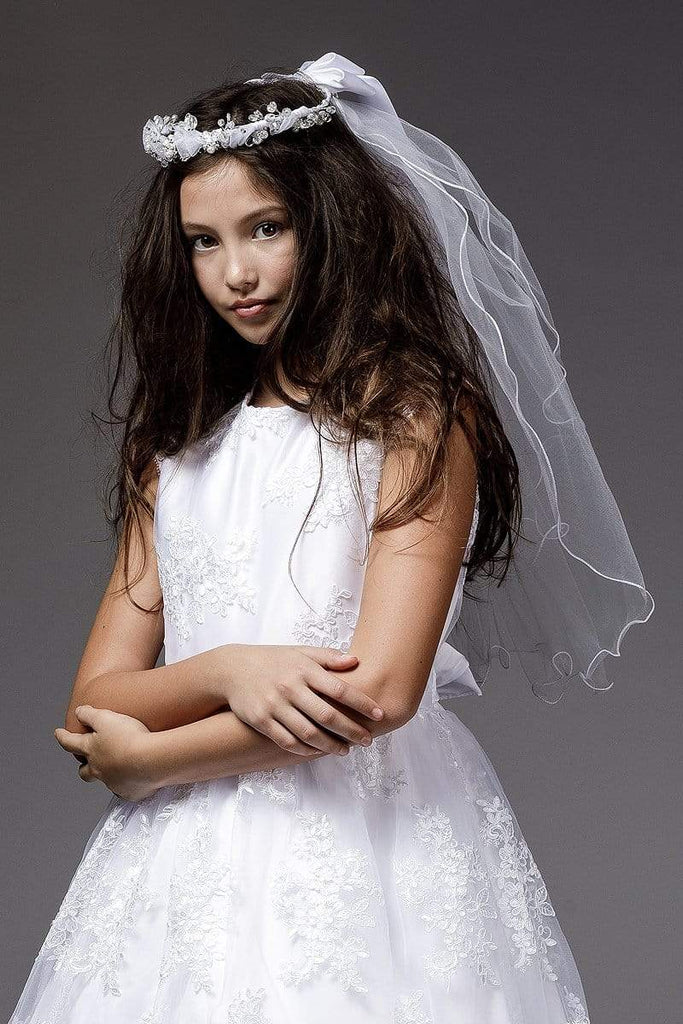 communion dresses Sequin and Lace Communion Veil PETITE ADELE flower girl dresses